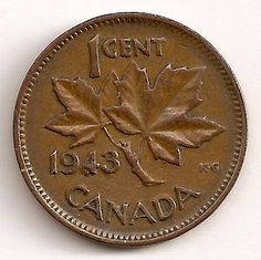 "A single Error 1943 ""Supported Four"" Cent from the 1937-1952 George VI Canadian coin series  from amongst the 1943 1 cent pieces that saw the greatest number of coins minted with a quantity approaching 89,112,000"