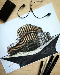 790 Likes, 5 Comments - architectural sketches ( Architecture Concept Drawings, Architecture Sketchbook, Architecture Panel, Green Architecture, Architecture Portfolio, Architecture Design, Landscape Architecture, Architectural Section, Architectural Sketches