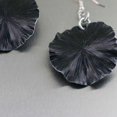Handmade Black Anodized Aluminum Lily Pad Earrings by johnsbrana