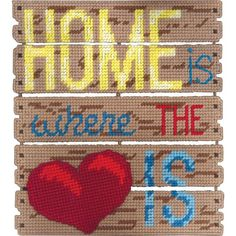 Plastic Canvas Gift Designs - Home is Where the Heart Is Plastic Canvas Kit Cross Stitch Needles, Cross Stitch Kits, Cross Stitch Embroidery, Cross Stitch Patterns, Cross Stitching, Plastic Art, Plastic Canvas Crafts, Plastic Canvas Patterns, Canvas Door Hanger