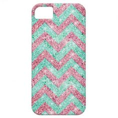 Chevron Pattern, pink & teal glitter photo print iPhone 5 Cases