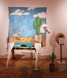 """I Wish for the West, mixed media with wood, canvas, pvc acrylic, and rubber, by Alex Buzzalini, $1,250—in """"Wish List"""" exhibition at the 117 Gallery of the Ann Arbor Art Center"""