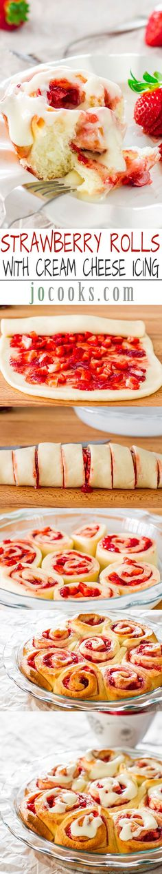 ricotta cheese dessert recipes, pineapple desserts recipes, peanut butter desserts recipes - Strawberry Rolls with Cream Cheese Icing Brownie Desserts, Just Desserts, Delicious Desserts, Dessert Recipes, Yummy Food, Coconut Dessert, Strawberry Recipes, Strawberry Jam, Strawberry Cheesecake