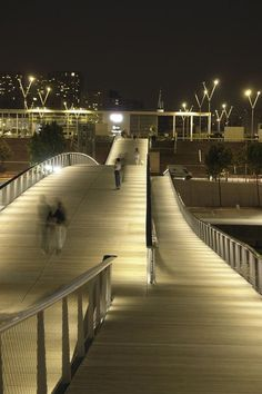 Simone de Beauvoir footbridge. Fascinating lighting solution.
