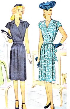 1940s Dress Pattern McCall 5946 Surplice Bodice V Neck Day Dress Gathered Skirt Womens Vintage Sewing Pattern Bust 34