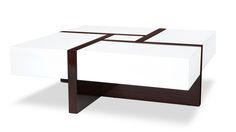 Mcintosh High Gloss Coffee Table with Storage - White Square | Zuri Furniture