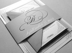 Black and White Wedding Invitations - Black and Gray Wedding Invitations, Belly Band, Black, Gray, White, Silver. $6.00, via Etsy.