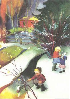 Winter Christmas Scenes, Christmas Art, Vintage Christmas, Childrens Christmas, Spring Sign, Children's Book Illustration, Conte, Vintage Postcards, Gnomes