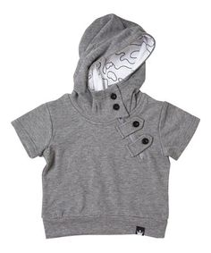 6c3cbf2a503c Littlest Prince Couture Charcoal Asymmetrical Zip-Front French Terry Hoodie  - Infant