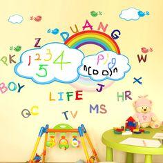 Kids Room Decor Rainbow Printable Wall Stickers Washable Rainbow White Board Wall Sticker