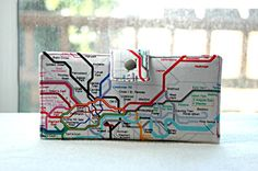 Handmade wallet London underground colorful map of by happykathy, $49.00
