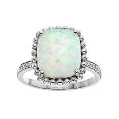 Lab-Created White Opal & White Sapphire Sterling Silver Halo Ring, Women's, Size: 9
