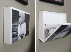 Re-purposing old VHS cases as photo frames is a great idea in itself; We love the dimension that it brings to a wall. To top it off, secret storage is revealed with just a flip of the lid. What kid wouldn't love to have a secret stash in his or her room?