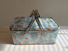 Vintage Canister Floral Chic Tin Box by Somethingcharming on Etsy