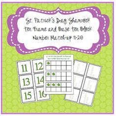 Lil Country Librarian: St. Patrick's Day Shamrock Ten Frame and Base Ten Number Match-up
