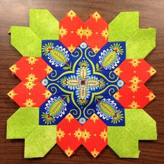 Lucy Boston (POTC/Patchwork of the Crosses) block made with English Paper Piecing. By Tracy Pierceall 2015.