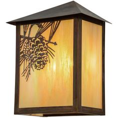 "Meyda Tiffany Greenbriar Oak 1-Light Outdoor Flush Mount Size: 16"" H x 12"" W x 7.5"" D"