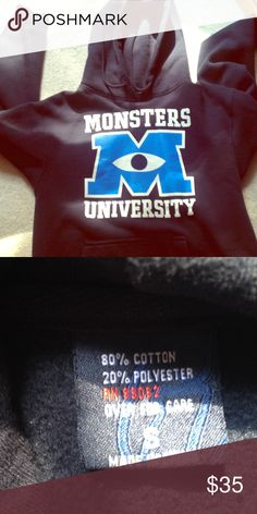 *FINAL PRICE* Monsters University Hoodie Worn once. Size small but it fits like a large. It's actually a men's small so it's roughly equivalent to a women's large. Disney Sweaters