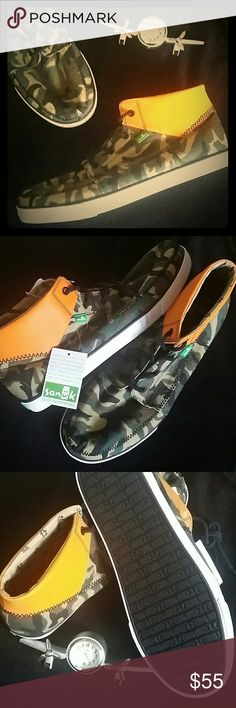 Sanuk Camouflage Highrise Boots Booties Canvas upper with padded neoprene collar, Zig Zag stitching details & rubber outsoles, Size 7, 9, 10.5, 11, 11.5 & 13 Sanuk Shoes Chukka Boots