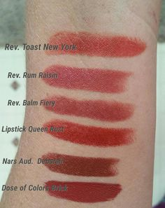 Need help finding a dupe for Revlon Toast of New York. Swatches of shades I've tried included.