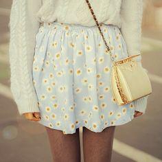 Daisy print skirt. So cute with a chunky sweater.