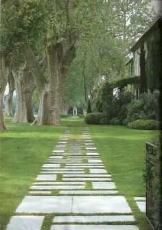 An Elegant French Provencal Garden with stone path through lawn. Pinned to Garden Design - Paving & Stairs by Darin Bradbury.lOVE THE PAVING. Garden Paving, Garden Paths, Concrete Garden, Garden Steps, Landscape Architecture, Landscape Design, Interior Architecture, Stepping Stone Pathway, Stone Paths