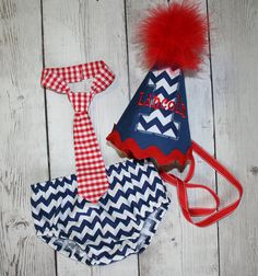 Chevron Red White and Blue Boys Birthday Party by bebeboutiques