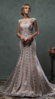 Amelia Sposa 2016 Wedding Dress for Spring Fall Winter Brides,Ivory Tulle and Embroidered Lace Appliques Overlay with Champagne Gold Satin Underlay,Elegant and Timeless Romance. Amelia Sposa Wedding Dress, 2016 Wedding Dresses, Lace Mermaid Wedding Dress, Wedding Attire, Bridal Dresses, Wedding Gowns, Lace Dress, Bridesmaid Dresses, Tulle Wedding