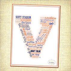 University of Virginia (UVA) Typographical Art Print