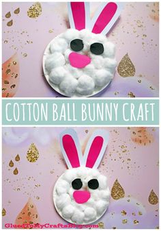 Easter & Spring Crafts For Kids Paper Plate & Cotton Ball Bunny - Kid Craft Idea Fo Daycare Crafts, Preschool Crafts, Kids Crafts, Paper Plate Crafts For Kids, Cotton Ball Crafts, Easy Toddler Crafts, Spring Crafts For Kids, Summer Crafts, Diy Ostern
