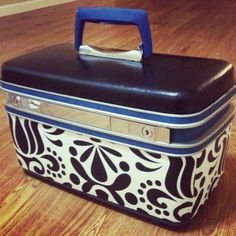 Upcycled Samsonite Train Case with Mod Green Pod Grand Jubilee wallpaper and chalkboard finish  on Etsy, $75.00