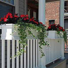 Deck Rail Planters, Porch Planters, Balcony Planters - Flower Window Boxes - About Garden and Flowers Deck Railing Planters, Front Porch Railings, Front Verandah, Balcony Planters, Deck Railings, Flower Planters, Balcony Railing, Porch Planter, Railing Ideas