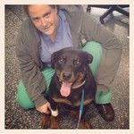 Dr. Megan Brace with Chula after her laparoscopic spay surgery