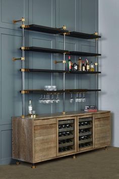 For Sale on - This beautiful bar cabinet with burnt oak adjustable shelves is part of our loft shelving collection. Our loft posts in blackened gunmetal and fully machined The Loft, Basement Bar Designs, Home Bar Designs, Basement Bars, Basement Ceilings, Basement Ideas, Wine Glass Shelf, Glass Shelves, Open Shelves