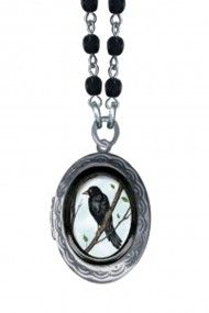 Small Crow Oval Pop Art Locket Necklace - Jet Faceted Glass Beads