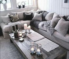 Totally swooning over this cozy chic living room! The different shades of grey a. Totally swooning over this cozy chic living room! The different shades of grey against a light couch brings a modern twist to your home decor. Cozy Living Rooms, Living Room Grey, Apartment Living, Home And Living, Small Living, Cottage Living, Living Area, Cozy Apartment, Grey Room