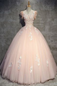 Pink Gorgeous Tulle and Lace Cap Sleeves Sweet 16 Dresses, Pink Formal Gown 2019 Quince Dresses, Pink Prom Dresses, Sweet 16 Dresses, Pretty Dresses, Beautiful Dresses, Quinceanera Dresses Peach, Formal Dresses, Quinceanera Ideas, Chiffon Dresses