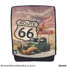 Get your Kicks on Route 66 Backpack with removable face