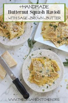 Handmade Butternut Squash Ravioli with Sage Browned Butter Handmade Butternut Squash Ravioli with Sage Browned Butter Pasta Recipes, Real Food Recipes, Vegetarian Recipes, Cooking Recipes, Dinner Recipes, Pasta Meals, Meal Recipes, Dinner Ideas, Butternut Squash Ravioli Sauce