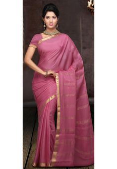 Pink Pure Mysore Silk Saree With Blouse: STC170A