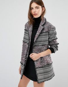 French Connection Pixel Mix Cotton Coat -  279.00 Abrigos 9fd84dc3e4e
