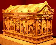 Ancient sarcophagi at the Antalya Archaeology Museum, Izmir, Turkey