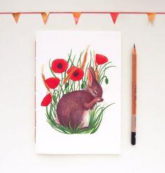 dierlijke notebook konijn notebook bunny briefpapier handgemaakte notebook bunny dagboek hand gebonden dagboek poppy dagboek dierlijke schetsboek kawaii