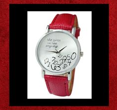 """NEW - """"WHO CARES I'M LATE ANYWAYS"""" STAINLESS STEEL RED LEATHER WRIST WATCH #Casual"""