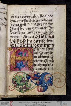 Cod. Pal. germ. 648 Gebete ; Bußpsalmen (Martin Luther 1524) ; Vaterunserauslegungen — Augsburg (?), zwischen 1524 und 1531 (Nachträge letztes Drittel 16. Jh.)