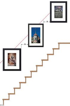 Pictures On Stairs, Stairway Photos, Stairway Gallery Wall, Gallery Wall Layout, Hanging Pictures, Stairway Walls, Frame Gallery, Picture Wall Staircase, Staircase Wall Decor