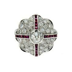 Art Deco Diamond Ruby Ring