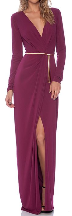 long sleeve cross over v-neck gown  http://rstyle.me/n/rdsrnpdpe