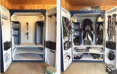DIY homemade tack box with roll out bridle and saddle racks! Huuge - perfect for multiple horse owners
