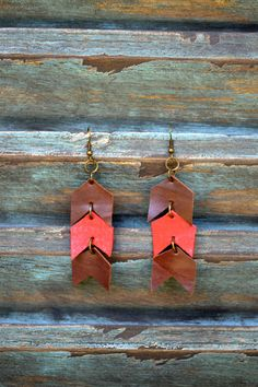 Handmade Leather Earrings from Thailand #95 $15